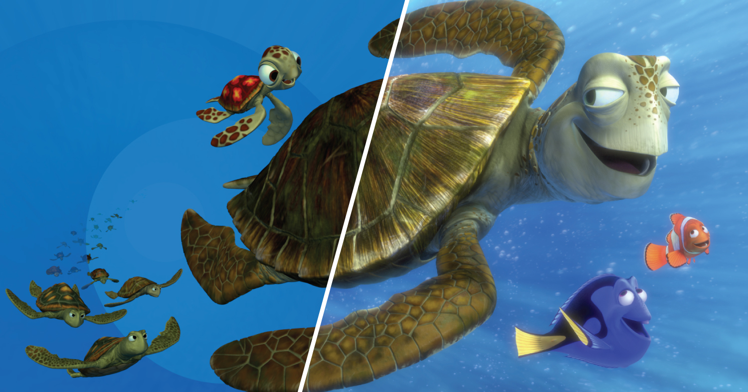 The left half of this frame from Finding Nemo has simple lighting effects, while the right half has full lighting effects.