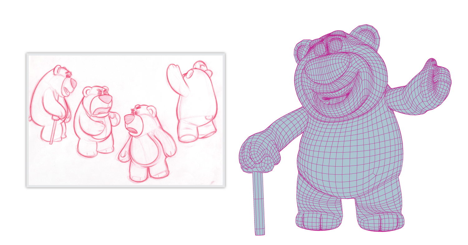 Modelers create a virtual 3D shape as a wireframe (on the right) based on the concept art (the sketches of Lotso on the left).