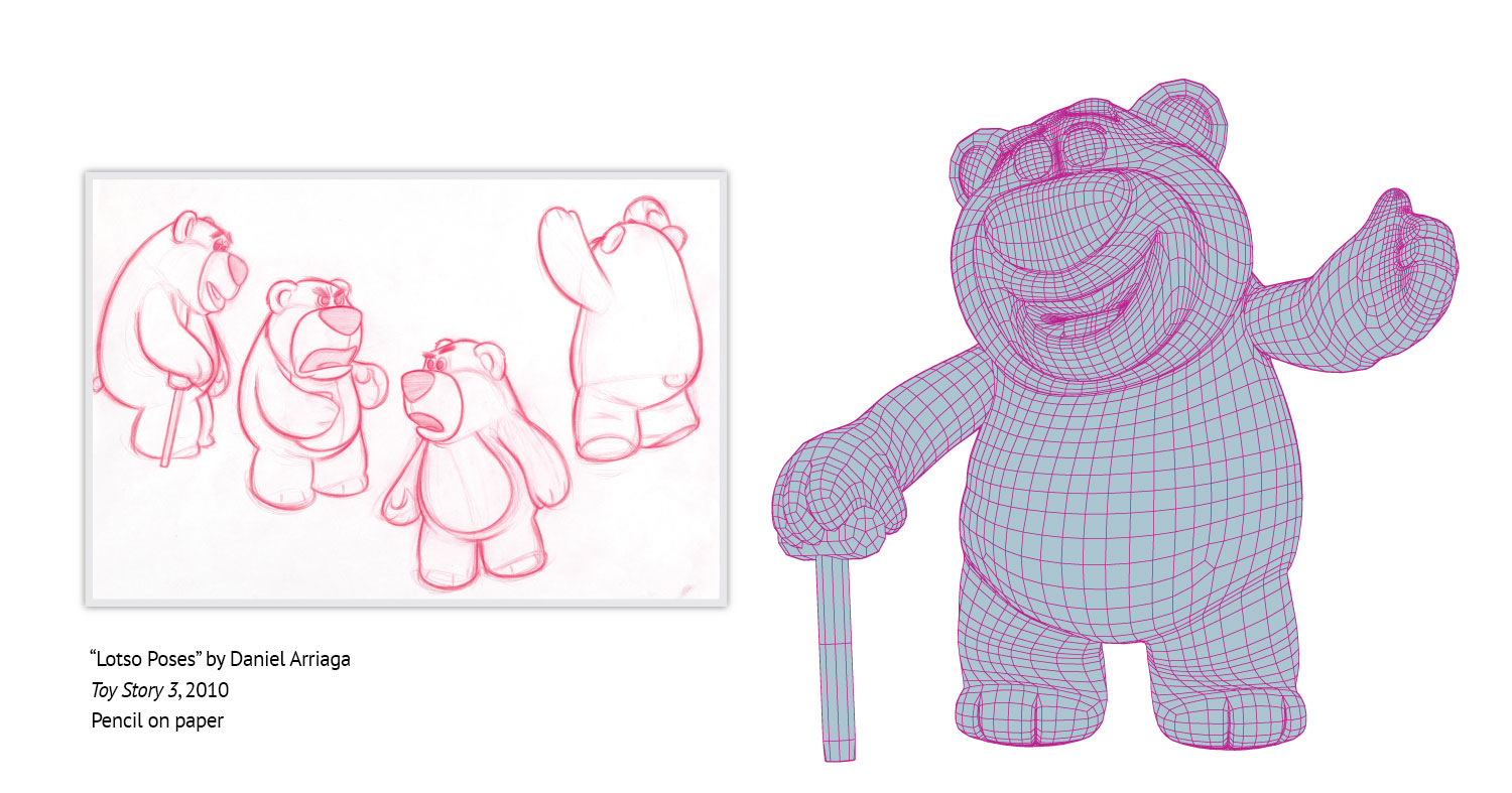Modelers create a virtual 3D shape as a wireframe (on the right) based on the concept art (the sketches of Lotso from Toy Story 3 (2010) on the left).
