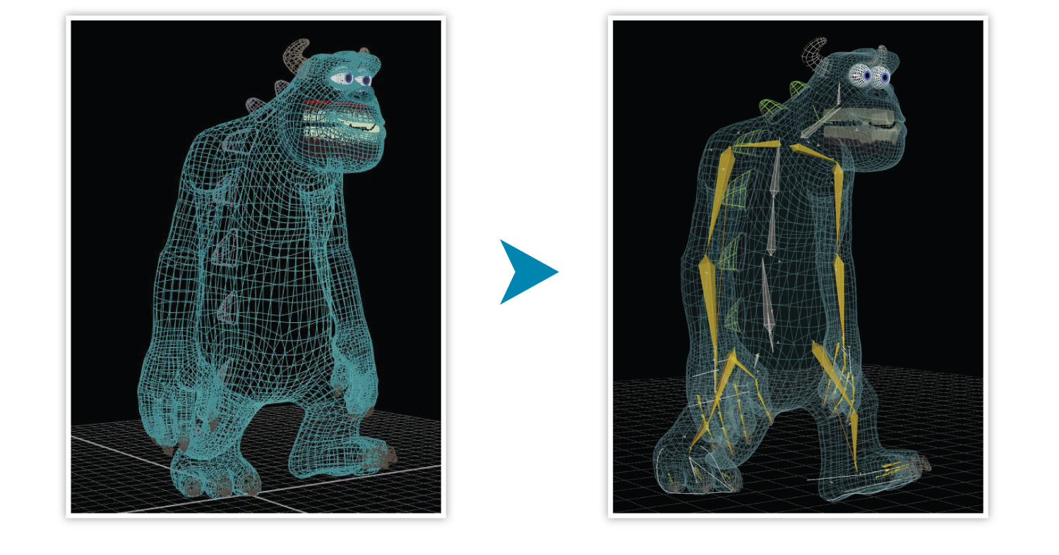 Riggers start with a wireframe model (on the left) and add the virtual bones (on the right) so Sulley can be posed.