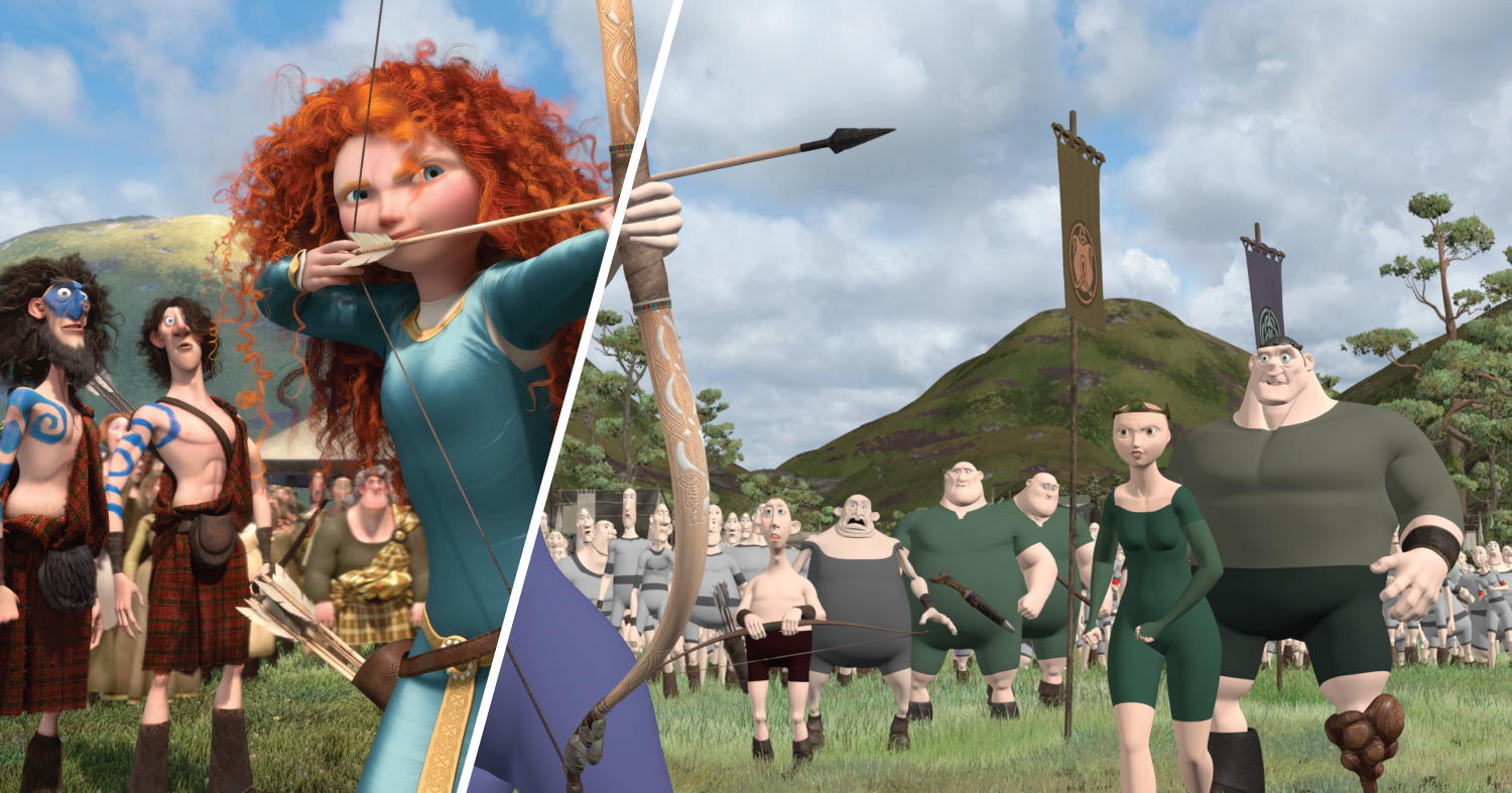 The left half of this frame from Brave includes the simulated elements (hair and clothing) that are missing from the right half of the frame.