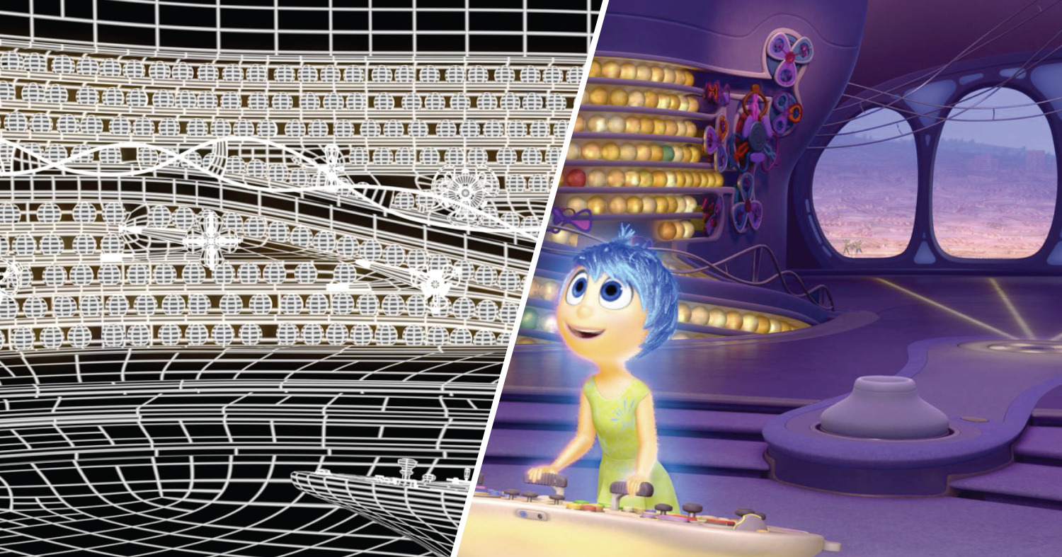 The wireframe in left half of this frame from Inside Out is a visualization of the data that define the scene. The right side is the final rendered image.