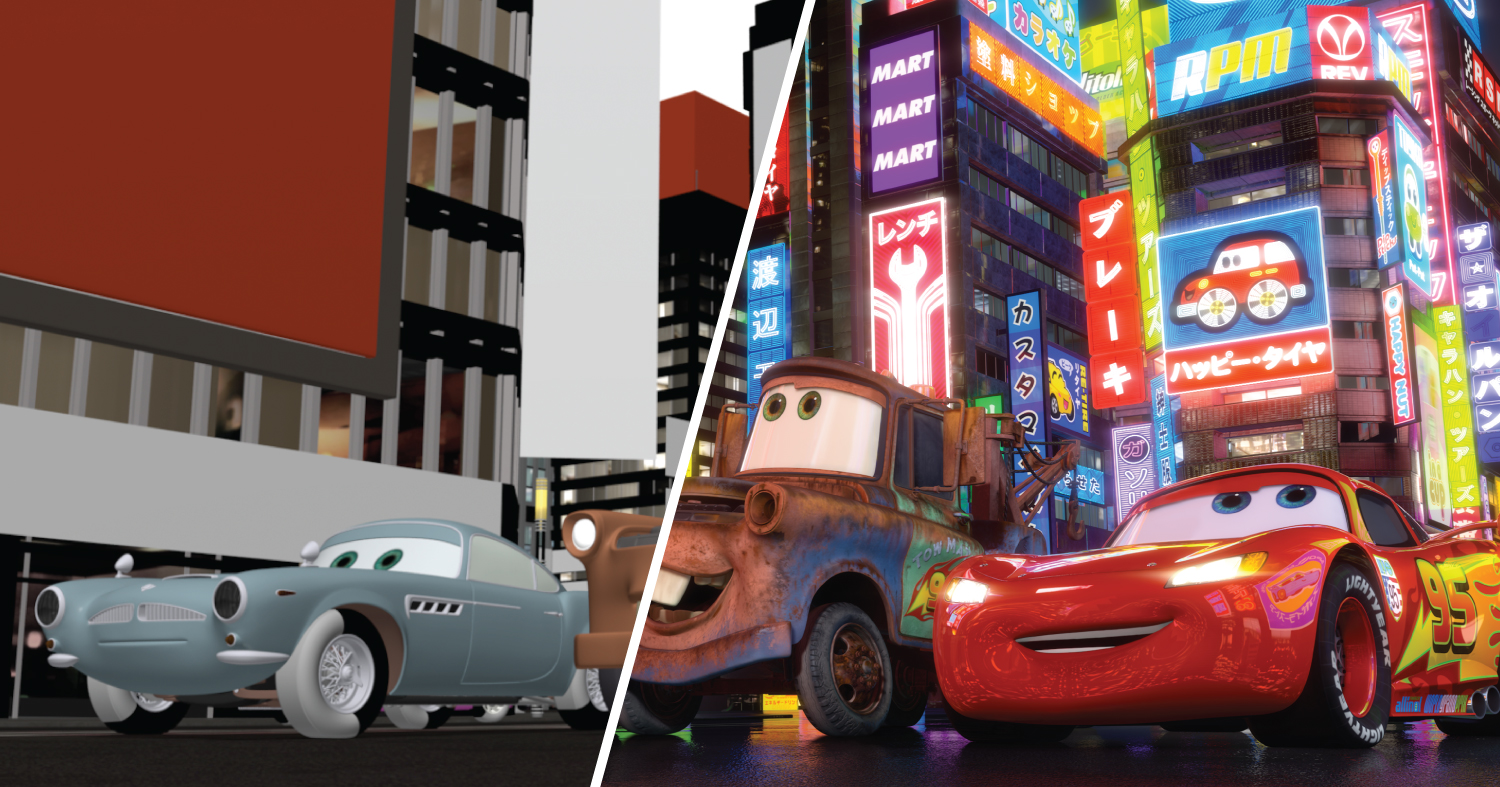 The left half of this frame from Cars 2 has basic color information while on the right side all the shaders have been applied.